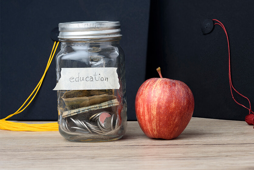 College savings in jar